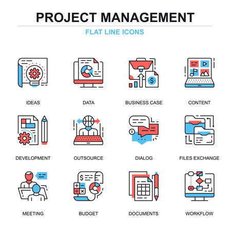 Flat line project management icons concepts set for website and mobile site and apps. Business data and documents workflow. Thin line color simple pictogram pack. Vector illustration. Illustration