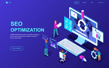 Modern flat design isometric concept of Seo Analysis decorated people character for website and mobile website development. Isometric landing page template. Vector illustration.