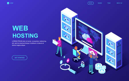Modern flat design isometric concept of Web Hosting decorated people character for website and mobile website development. Isometric landing page template. Vector illustration.