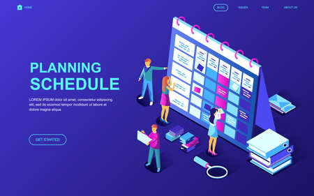 Modern flat design isometric concept of Planning Schedule decorated people character for website and mobile website development. Isometric landing page template. Vector illustration. Illustration
