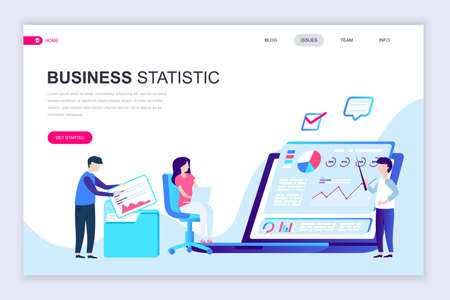 Modern flat web page design template of Business Statistic decorated people character for website and mobile website development. Flat landing page template. Vector illustration. Illustration