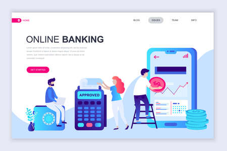Modern flat web page design template of Online Banking decorated people character for website and mobile website development. Flat landing page template. Vector illustration.