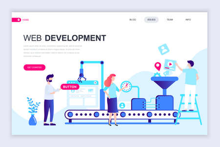 Modern flat web page design template of Web Development decorated people character for website and mobile website development. Flat landing page template. Vector illustration.