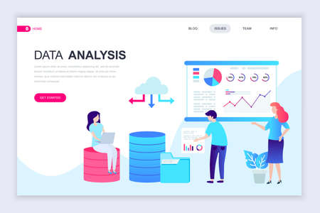 Modern flat web page design template of Auditing, Data Analysis decorated people character for website and mobile website development. Flat landing page template. Vector illustration. Illustration
