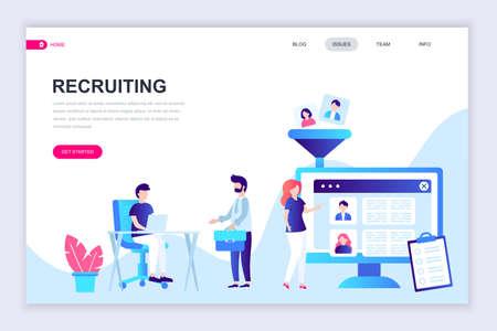 Modello moderno di progettazione di pagine web piatte di reclutamento di personaggi decorati per lo sviluppo di siti Web e siti Web mobili. Modello di pagina di destinazione piatta. Illustrazione vettoriale. Vettoriali