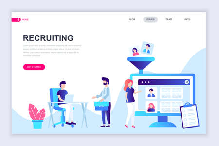 Modern flat web page design template of Recruiting decorated people character for website and mobile website development. Flat landing page template. Vector illustration.