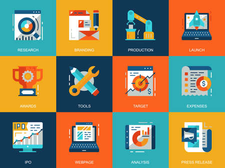 Flat conceptual startup your project icons concepts set for website and mobile site and apps. Startup development, market research. Flat style pictogram pack. Vector illustration.  イラスト・ベクター素材