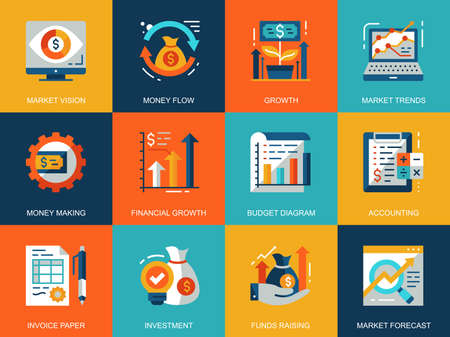 Flat conceptual global market economics icons concepts set for website and mobile site and apps. Funds raising and financial trends. Flat style pictogram pack. Vector illustration.