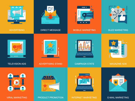 Flat conceptual promo and advertising icons concepts set for website and mobile site and apps. Marketing media, product promotion ads. Flat style pictogram pack. Vector illustration.
