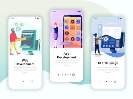 Conjunto de kit de interfaz de usuario de pantallas incorporadas para desarrollo web y de aplicaciones, diseño, concepto de plantillas de aplicaciones móviles. Ilustración de vector