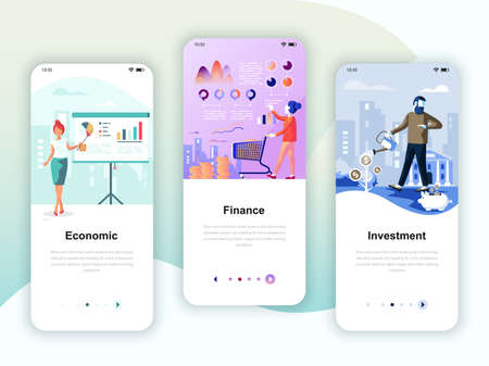 Set of onboarding screens user interface kit for Economics, Finance, Investment, mobile app templates concept.