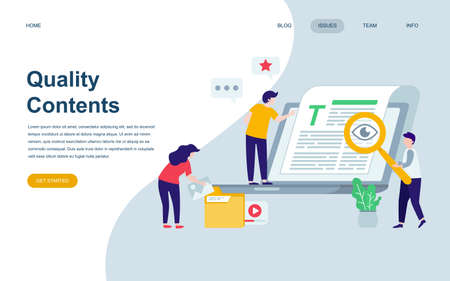 Modern flat web page design template of Quality Content decorated people character for website and mobile website development. Ilustração Vetorial
