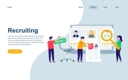 Modern flat web page design template of Recruiting decorated people character for website and mobile website development.