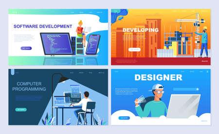 Set of landing page template for Software, Developing, Designer, Programming. Иллюстрация