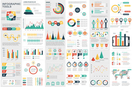 Éléments d'infographie modèle de conception de vecteur de visualisation de données. Peut être utilisé pour les étapes, les options, les processus métier, le workflow, le diagramme, le concept d'organigramme, la chronologie, les icônes marketing, les graphiques d'informations.