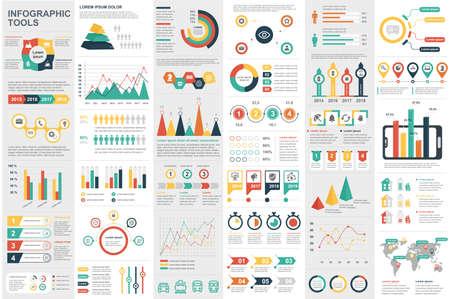 Infografika elementów wizualizacji danych wektor szablon projektu. Może być używany do kroków, opcji, procesów biznesowych, przepływu pracy, schematu, koncepcji schematu blokowego, osi czasu, ikon marketingowych, grafiki informacyjnej.