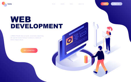 Modern flat design isometric concept of Web Development decorated people character for website and mobile website development.