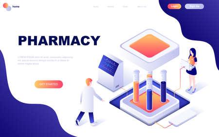 Concept isométrique moderne de conception plate de pharmacien en pharmacie décorée de personnages pour le développement de sites Web et de sites Web mobiles. Modèle de page de destination isométrique. Illustration vectorielle. Vecteurs