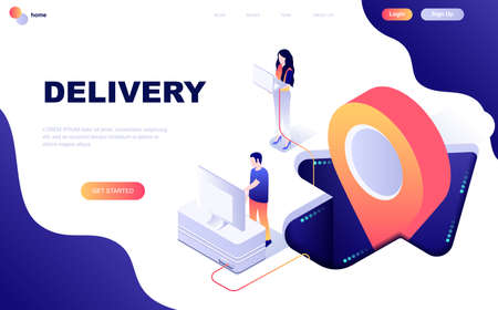 Modern flat design isometric concept of Worldwide Delivery decorated people character for website and mobile website development. Isometric landing page template. Vector illustration.