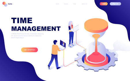 Modern flat design isometric concept of Time Management decorated people character for website and mobile website development. Isometric landing page template. Vector illustration.