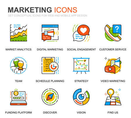 Simple Set Business and Marketing Line Icons for Website and Mobile Apps. Contains such Icons as Vision, Mission, Planning, Market. Conceptual color line icon. Vector pictogram pack.
