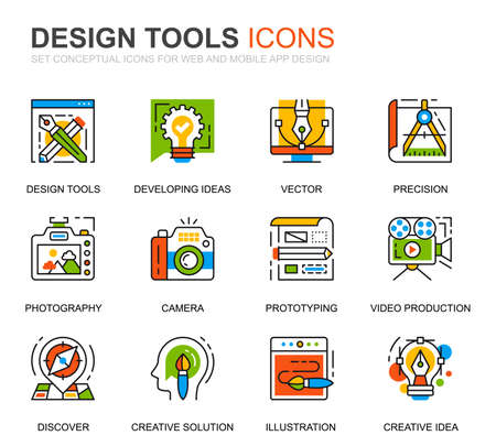 Simple Set Design Tools Line Icons for Website and Mobile Apps. Contains such Icons as Creative, Developing, Precision, Vision, Sketch. Conceptual color line icon. Vector pictogram pack. Ilustração