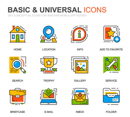 Simple Set Basic Line Icons for Website and Mobile Apps. Vettoriali