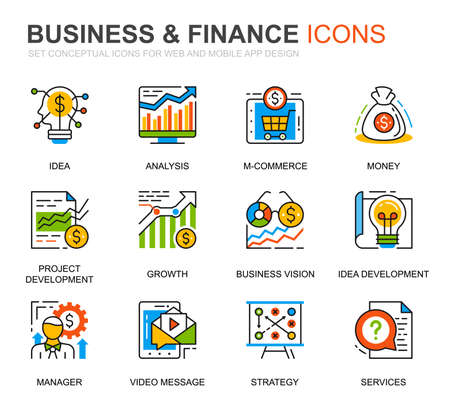 Simple Set Business and Finance Line Icons for Website and Mobile Apps. Contains such Icons as Analysis, Money, Accounting, Strategy, Bank. Conceptual color line icon. Vector pictogram pack.