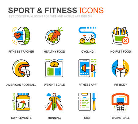 Simple Set Sport and Fitness Line Icons for Website and Mobile Apps. Contains such Icons as Fit Body, Swimming, Fitness App, Supplements. Conceptual color line icon. Vector pictogram pack.