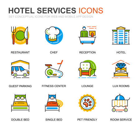Simple Set Hotel Service Line Icons for Website and Mobile Apps.