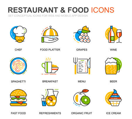 Simple Set Restaurant and Food Line Icons for Website and Mobile Apps. Contains such Icons as Fast Food, Menu, Organic Fruit, Coffee Bar. Conceptual color line icon. Vector pictogram pack. 일러스트
