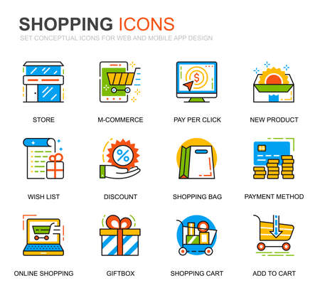 Simple Set Shopping and E-Commerce Line Icons for Website and Mobile Apps. Contains such Icons as Delivery, Payment Method, Store, Commerce. Conceptual color line icon. Vector pictogram pack.