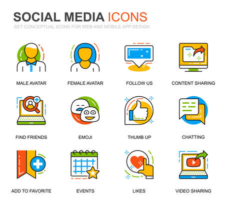 Simple Set Social Media and Network Line Icons for Website and Mobile Apps. Contains such Icons as Avatar, Emoji, Chating, Likes. Conceptual color line icon. Vector pictogram pack.