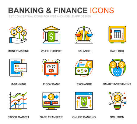 Simple Set Banking and Finance Line Icons for Website and Mobile Apps. Contains such Icons as Balance, E-Banking, Auction, Financial Growth. Conceptual color line icon. Vector pictogram pack.