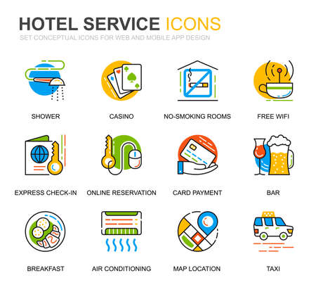 Set semplice icone della linea dei servizi dell'hotel per il sito Web e le app mobili.