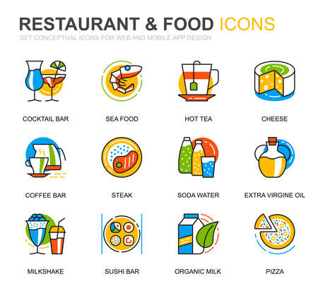 Simple Set Restaurant and Food Line Icons for Website and Mobile Apps. Contains such Icons as Fast Food, Menu, Organic Fruit, Coffee Bar. Conceptual color line icon. Vector pictogram pack. Ilustração