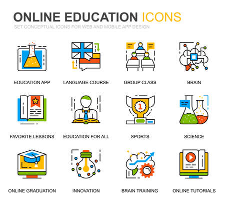 Simple Set Education and Knowledge Line Icons for Website and Mobile Apps. Contains such Icons as Studying, School, Graduation, E-Book. Conceptual color line icon. Vector pictogram pack. Иллюстрация