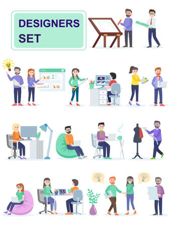 Set of coworking space with creative people sitting at the table. Designers invent and develop creative product designs. Cartoon characters isolated on white background. Flat vector illustration. Reklamní fotografie - 124588542