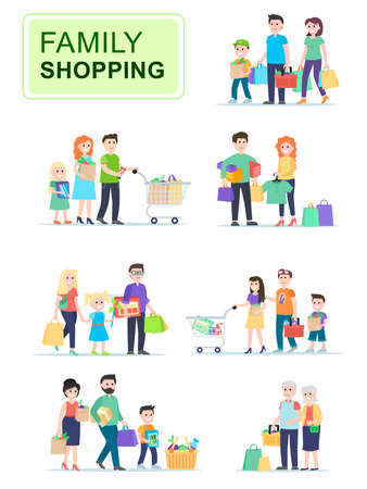 Set of people carrying shopping bags with purchases. Men and women go shopping with their children, sales in stores.