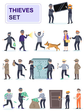Set of criminals in different poses. Criminals and thieves risk and rob banks and people. Cartoon characters isolated on white background. Flat vector illustration.