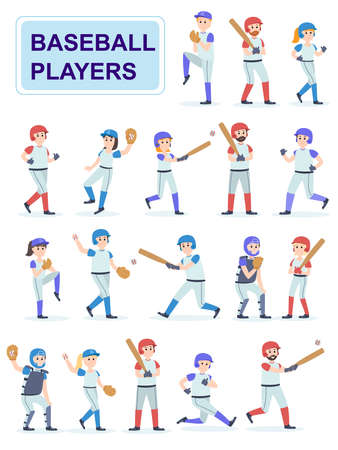 Set of baseball players at classic uniform. 스톡 콘텐츠 - 120765319