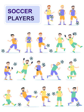 Set of soccer ball player with different pose. Men play a ball beating him and scoring goals. Cartoon characters isolated on white background. Flat vector illustration. Illustration