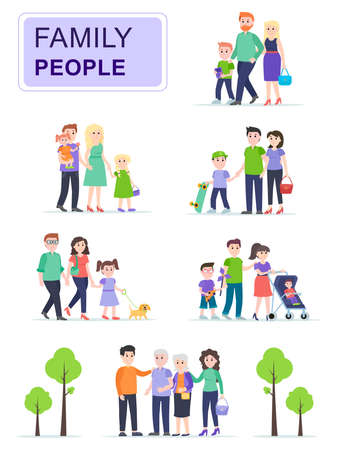 Set of happy traditional families with children. Family went for a walk with kids in the park. Cartoon characters isolated on white background. Flat vector illustration. Illustration