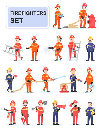 Set of firefighters doing their job. Male firefighters who put out fires, save people, help. Cartoon characters isolated on white background. Flat vector illustration.