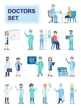 Set of hospital medical staff standing together. Male and female medicine workers doctors, paramedics, nurses. Cartoon characters isolated on white background. Flat vector illustration.