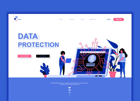 Modern flat web page design template concept of Data Protection decorated people character for website and mobile website development.