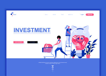 Modern flat web page design template concept of Business Investment decorated people character for website and mobile website development. 矢量图片