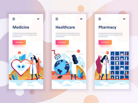 Set of onboarding screens user interface kit for Medicine, Healthcare, Pharmacy, mobile app templates concept.