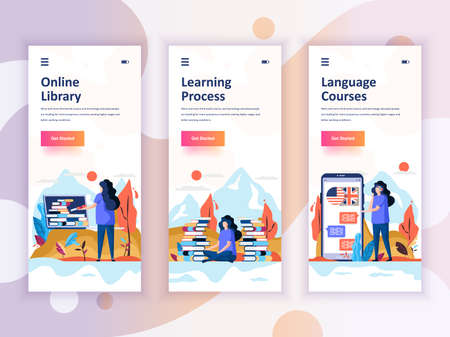 Set of onboarding screens user interface kit for Library, Learning, Language Courses, mobile app templates concept. Иллюстрация