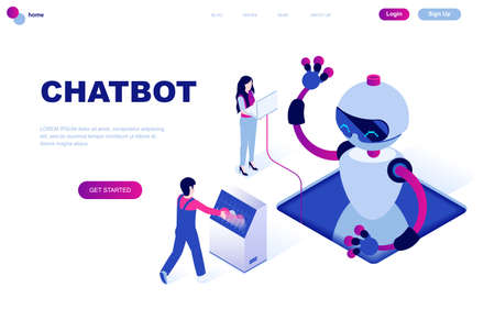 Modern flat design isometric concept of Chat Bot and Marketing decorated people character for website and mobile website development